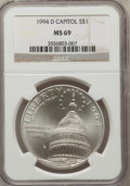 Modern Issues: , 1994-D $1 U.S. Capitol Silver Dollar MS69 NGC. NGC Census:(915/530). PCGS Population (1639/356). Mintage: 68,352. Numismed...