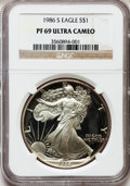 Modern Bullion Coins: , 1986-S $1 Silver Eagle PR69 Ultra Cameo NGC. NGC Census:(26809/1132). PCGS Population (10316/658). Mintage: 1,446,778.Num...