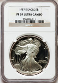Modern Bullion Coins: , 1987-S $1 Silver Eagle PR69 Ultra Cameo NGC. NGC Census:(15682/394). PCGS Population (5565/178). Mintage: 904,732.Numisme...