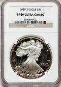 Modern Bullion Coins: , 1989-S $1 Silver Eagle PR69 Ultra Cameo NGC. NGC Census:(83697/881). PCGS Population (5383/389). Mintage: 617,694.Numisme...