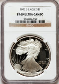 Modern Bullion Coins: , 1992-S $1 Silver Eagle PR69 Ultra Cameo NGC. NGC Census:(10937/725). PCGS Population (4904/256). Mintage: 498,654.Numisme...