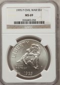 Modern Issues: , 1995-P $1 Civil War Silver Dollar MS69 NGC. NGC Census: (1008/118).PCGS Population (1779/146). Numismedia Wsl. Price for ...