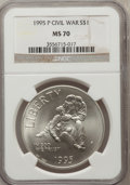 Modern Issues: , 1995-P $1 Civil War Silver Dollar MS70 NGC. NGC Census: (111). PCGSPopulation (110). Numismedia Wsl. Price for problem fr...