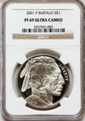 Modern Issues: , 2001-P $1 Buffalo Silver Dollar PR69 Ultra Cameo NGC. NGC Census:(12166/1527). PCGS Population (16740/740). Numismedia Ws...