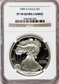Modern Bullion Coins, 1989-S $1 One-Ounce Silver Eagle PR70 Ultra Cameo NGC. 25thAnniversary Holder. NGC Census: (833). PCGS Population (731). ...