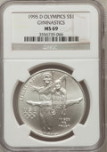 Modern Issues: , 1995-D $1 Olympic/Gymnastics Silver Dollar MS69 NGC. NGC Census:(1158/277). PCGS Population (1900/231). Numismedia Wsl. P...