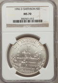 Modern Issues: , 1996-D $1 Smithsonian Silver Dollar MS70 NGC. NGC Census: (410).PCGS Population (312). Mintage: 31,320. Numismedia Wsl. Pr...