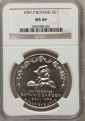 Modern Issues: , 1997-P $1 Botanic Gardens Silver Dollar MS69 NGC. NGC Census:(1022/186). PCGS Population (1549/118). Mintage: 58,505. Numi...