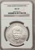 Modern Issues: , 1998-S $1 Robert F. Kennedy Silver Dollar MS70 NGC. NGC Census:(698). PCGS Population (231). Numismedia Wsl. Price for pr...