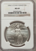 Modern Issues: , 1996-S $1 Community Service Silver Dollar MS69 NGC. NGC Census:(675/244). PCGS Population (1142/115). Mintage: 23,500. Num...