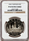 Modern Issues, 1996-P $1 Smithsonian PR69 Ultra Cameo NGC. NGC Census: (1573/45).PCGS Population (1532/45). Numismedia Wsl. Price for pr...