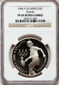 Modern Issues: , Tennis $1 1996-P PR69 Ultra Cameo NGC. NGC Census: (1093/8). PCGSPopulation (1169/9). Numismedia Wsl. Price for problem f...