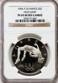 Modern Issues: , 1996-P $1 Olympic/High Jump Silver Dollar PR69 Ultra Cameo NGC. NGCCensus: (1180/4). PCGS Population (1167/2). Numismedia...