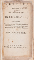 Books:Religion & Theology, [Atheism]. M. Voltaire. Letters Addressed to His Highness The Prince of *****, Containing, Comments on the Writing...