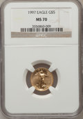 Modern Bullion Coins: , 1997 G$5 Tenth-Ounce Gold Eagle MS70 NGC. NGC Census: (644). PCGSPopulation (113). Mintage: 528,515. Numismedia Wsl. Price...