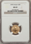 Modern Bullion Coins: , 1999 G$5 Tenth-Ounce Gold Eagle MS69 NGC. NGC Census: (7198/1389).PCGS Population (5603/138). Numismedia Wsl. Price for p...