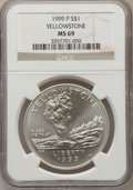 Modern Issues: , 1999-P $1 Yellowstone Silver Dollar MS69 NGC. NGC Census:(1133/408). PCGS Population (1892/222). Numismedia Wsl. Price fo...