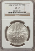 Modern Issues: , 2002-W $1 West Point Silver Dollar MS69 NGC. NGC Census:(1941/2395). PCGS Population (3993/1012). Numismedia Wsl. Pricef...