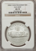 Modern Issues, 2006-S $1 San Francisco Old Mint MS70 NGC. NGC Census: (2739). PCGSPopulation (584). Numismedia Wsl. Price for problem fr...