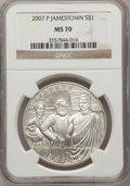 Modern Issues, 2007-P $1 Jamestown MS70 NGC. NGC Census: (4808). PCGS Population(1073). Numismedia Wsl. Price for problem free NGC/PCGS ...