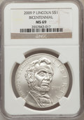 Modern Issues, 2009-P $1 Bicentennial Lincoln MS69 NGC. NGC Census: (1497/7937).PCGS Population (2435/2974). Numismedia Wsl. Price for p...