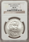 Modern Issues, 2009-P $1 Lincoln Bicentennial MS70 NGC. NGC Census: (8161). PCGSPopulation (3223). Numismedia Wsl. Price for problem fre...