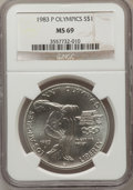 Modern Issues: , OLYMPIC $1 1983-P MS69 NGC. NGC Census: (1586/39). PCGS Population(2326/18). Mintage: 294,543. Numismedia Wsl. Price for p...