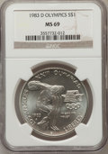 Modern Issues: , 1983-D $1 Olympic Silver Dollar MS69 NGC. NGC Census: (1189/11). PCGS Population (1677/6). Mintage: 174,014. Numismedia Wsl...