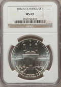 Modern Issues: , 1984-S $1 Olympic Silver Dollar MS69 NGC. NGC Census: (974/2). PCGSPopulation (1238/6). Mintage: 116,000. Numismedia Wsl. ...