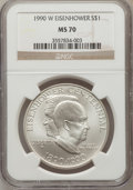 Modern Issues: , 1990-W $1 Eisenhower Silver Dollar MS70 NGC. NGC Census: (151).PCGS Population (111). Mintage: 241,669. Numismedia Wsl. Pr...