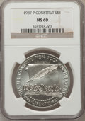 Modern Issues: , 1987-P $1 Constitution Silver Dollar MS69 NGC. NGC Census:(2817/479). PCGS Population (3494/332). Mintage: 451,629. Numism...