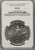 Modern Issues: , 1989-D $1 Congress Silver Dollar MS69 NGC. NGC Census: (2247/38).PCGS Population (1794/3). Mintage: 135,203. Numismedia Ws...