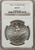 Modern Issues: , 1989-D $1 Congress Silver Dollar MS70 NGC. NGC Census: (23). PCGSPopulation (3). Mintage: 135,203. Numismedia Wsl. Price f...