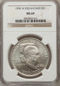 Modern Issues: , 1990-W $1 Eisenhower Silver Dollar MS69 NGC. NGC Census:(1828/171). PCGS Population (2286/134). Mintage: 241,669.Numismed...