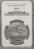 Modern Issues: , 1991-D $1 Korean War Silver Dollar MS69 NGC. NGC Census:(1853/290). PCGS Population (2669/263). Mintage: 213,049.Numismed...
