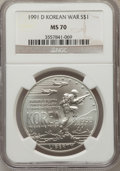 Modern Issues: , 1991-D $1 Korean War Silver Dollar MS70 NGC. NGC Census: (276).PCGS Population (173). Mintage: 213,049. Numismedia Wsl. Pr...