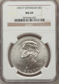 Modern Issues: , 1993-P $1 Jefferson Silver Dollar MS69 NGC. NGC Census: (1852/616).PCGS Population (3523/320). Mintage: 266,927. Numismedi...