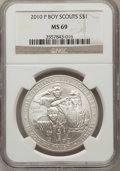 Modern Issues, 2010-P $1 Boy Scouts MS69 NGC. NGC Census: (1646/5519). PCGSPopulation (2932/2644). Numismedia Wsl. Price for problem fre...