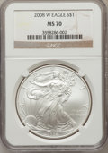 Modern Bullion Coins, 2008-W $1 Silver Eagle MS70 NGC. NGC Census: (19169). PCGSPopulation (1773). The image displayed is a stock photo of an ...