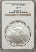 Modern Bullion Coins, 2007-W $1 Silver Eagle MS70 NGC. NGC Census: (11461). PCGSPopulation (3052). Numismedia Wsl. Price for problem free NGC/P...