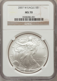 2007-W $1 Silver Eagle MS70 NGC. NGC Census: (10466). PCGS Population (2495). Numismedia Wsl. Price for problem free NGC...