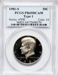 Proof Kennedy Half Dollars, (2)1981-S 50C Type One PR69 Deep Cameo PCGS. ... (Total: 2 coins)