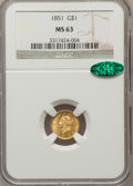 Gold Dollars: , 1851 G$1 MS63 NGC. CAC. NGC Census: (557/539). PCGS Population(483/408). Mintage: 3,317,671. Numismedia Wsl. Price for pro...