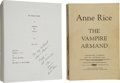 Books:Horror & Supernatural, Anne Rice. Two Inscribed Dedication Copies of The VampireArmand, including: Photocopy of the Final Version of... (Total:2 Items)