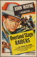 "Movie Posters:Western, Overland Stage Raiders (Republic, R-1953). One Sheet (27"" X 41"").Western.. ..."