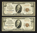 National Bank Notes:Maryland, Baltimore, MD - $10 1929 Ty. 1 The First NB Ch. # 1413;.Hagerstown, MD - $10 1929 Ty. 1 The Nicodemus NB Ch. #... (Total: 2notes)