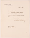 """Autographs:U.S. Presidents, Herbert Hoover Typed Signed Letter as President of the UnitedStates """"Herbert Hoover"""". One page, 7"""" x 9"""", on Whi..."""