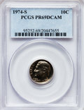 Proof Roosevelt Dimes: , 1974-S 10C PR69 Deep Cameo PCGS. PCGS Population (3357/18). NGCCensus: (49/0). Numismedia Wsl. Price for problem free NGC...