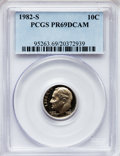 Proof Roosevelt Dimes: , 1982-S 10C PR69 Deep Cameo PCGS. PCGS Population (2730/148). NGCCensus: (425/73). Numismedia Wsl. Price for problem free ...