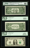 Error Notes:Error Group Lots, Fr. 1907-H $1 1969D Federal Reserve Note. PMG Gem Uncirculated 66EPQ; Fr. 1908-K $1 1974 Federal Reserve Notes. Three Example...(Total: 4 notes)